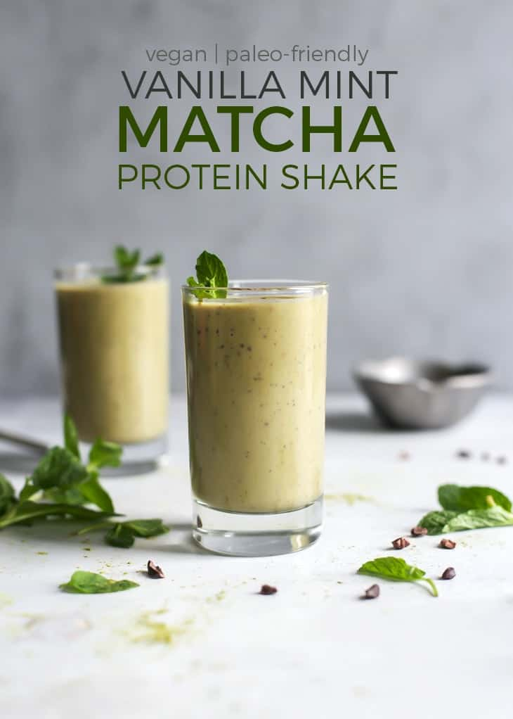 glasses of vanilla mint matcha protein shake