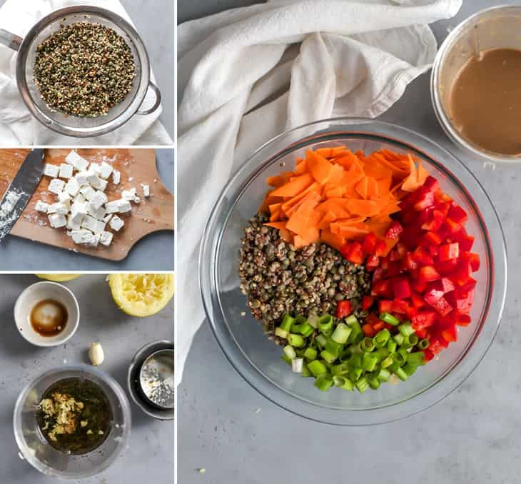 the process for making a quinoa lentil salad with maple balsamic dressing