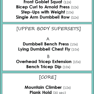 WEIGHT TRAINING WORKOUT #1