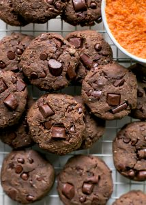 baked pumpkin chocolate chip chickpea cookies on cooling rack