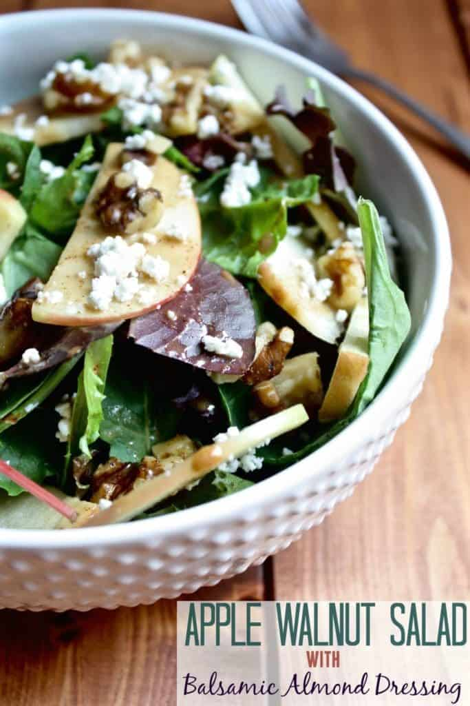 Apple Walnut Salad with Balsamic Almond Dressing [Fit Mitten Kitchen] #cleaneating