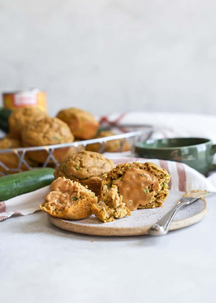 cut open chai pumpkin muffins with cashew butter