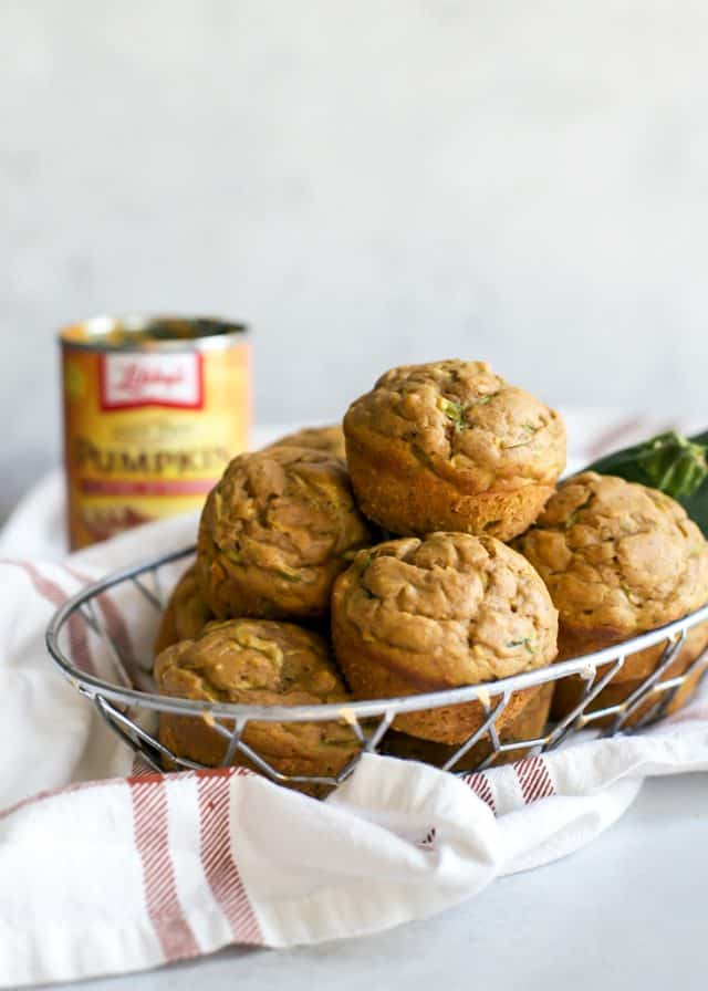 basket of pumpkin zucchini muffins
