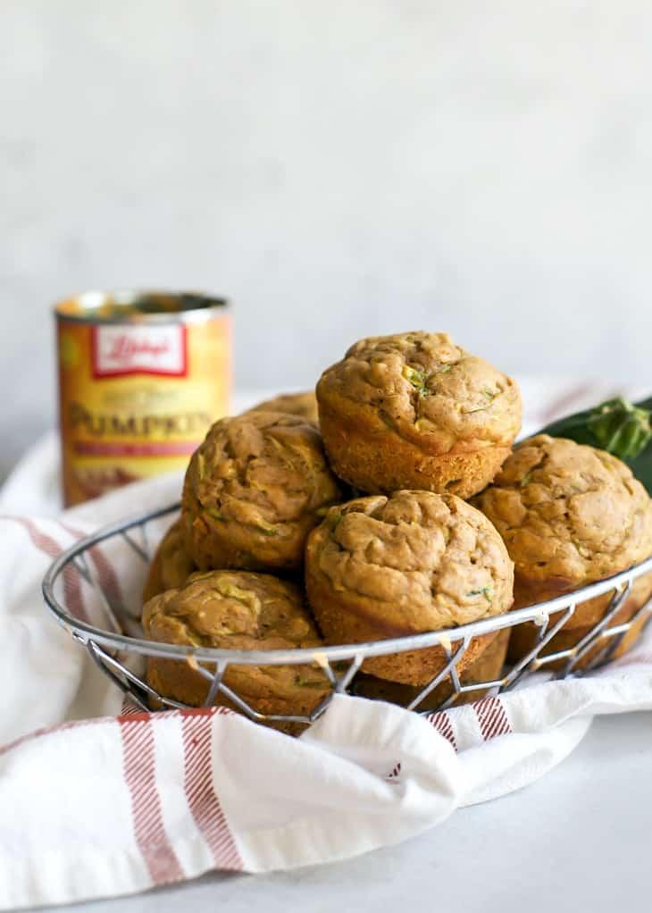 basket of pumpkin zucchini muffins