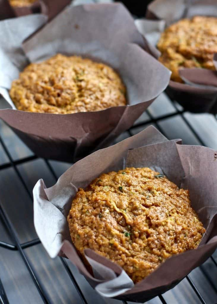 Zucchini Pumpkin Chai Muffins in pastry liners