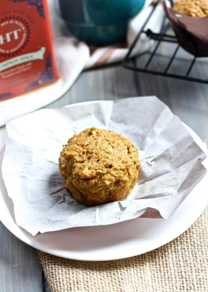 Zucchini Pumpkin Chai Muffins on plate with pastry liner