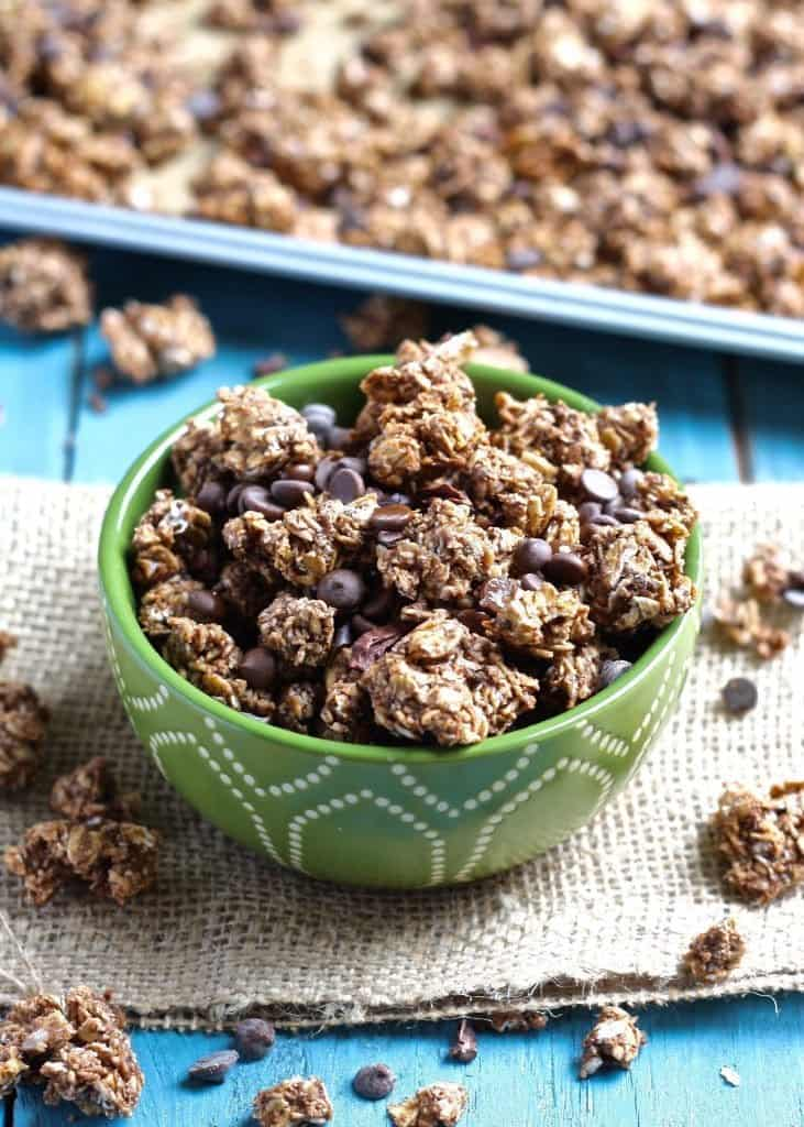 Triple Chocolate Coconut Granola Clusters in green bowl