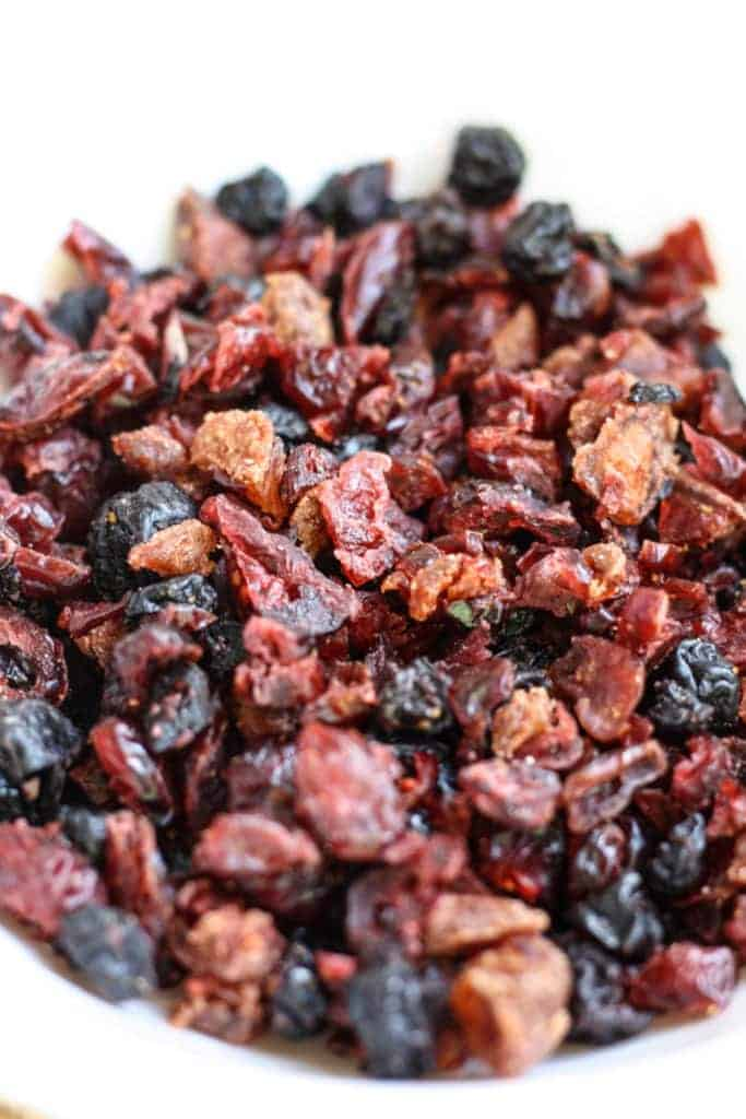 Dried cut up fruit for Whole Wheat Oatmeal Berry Cookies