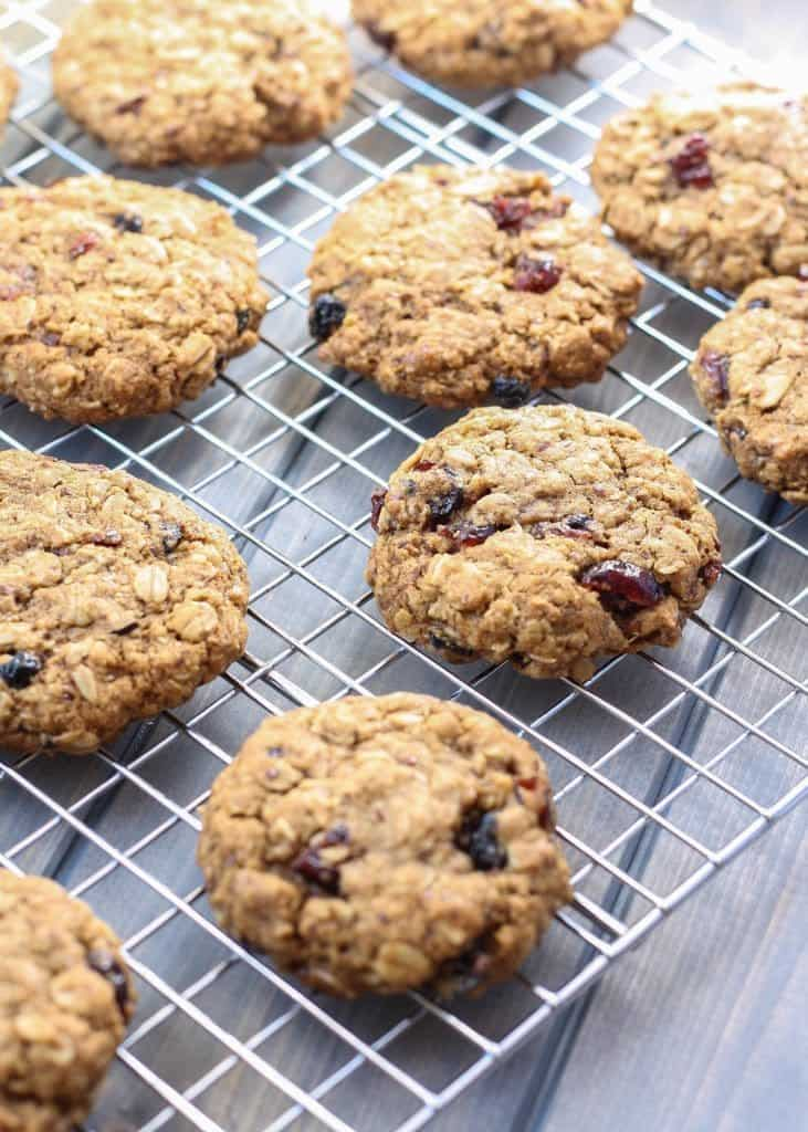 Whole Wheat Oatmeal Berry Cookies on cooling rack
