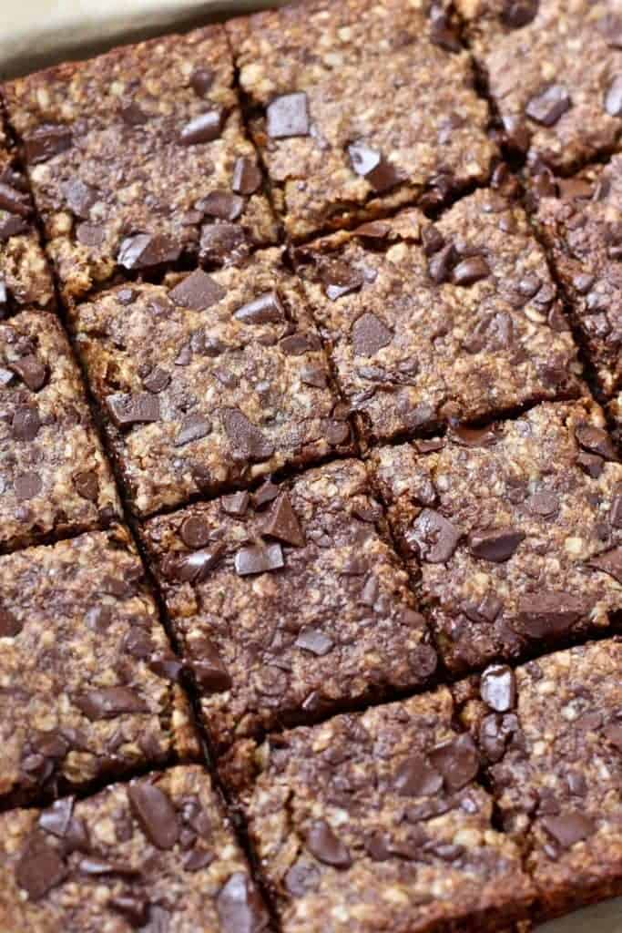 Close up of Vegan Oatmeal Chocolate Chip Cookie Bars