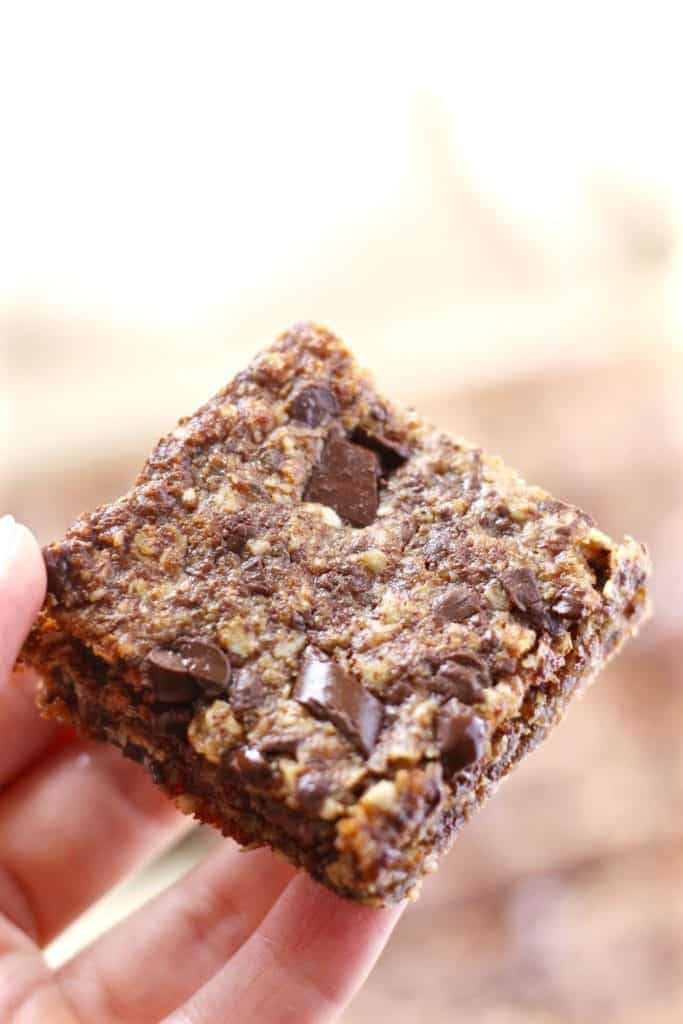 Vegan Oatmeal Chocolate Chip Cookie Bars close up