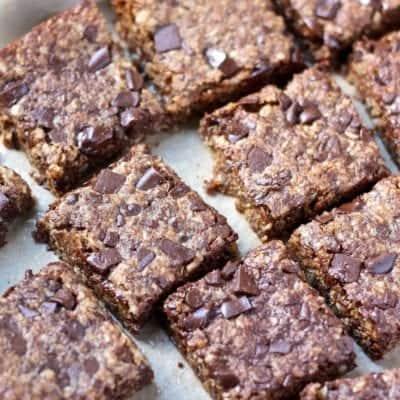 Vegan Oatmeal Chocolate Chip Cookie Bars [gluten-free]