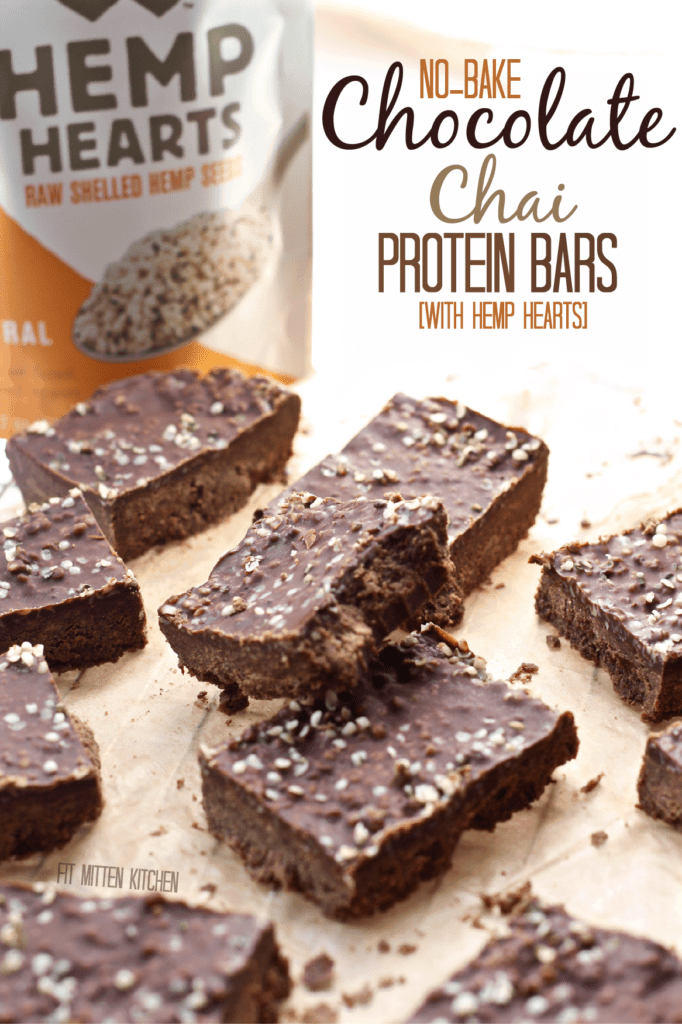 Chocolate Chai Protein Bars on cutting board with Hemp Hearts on cutting board