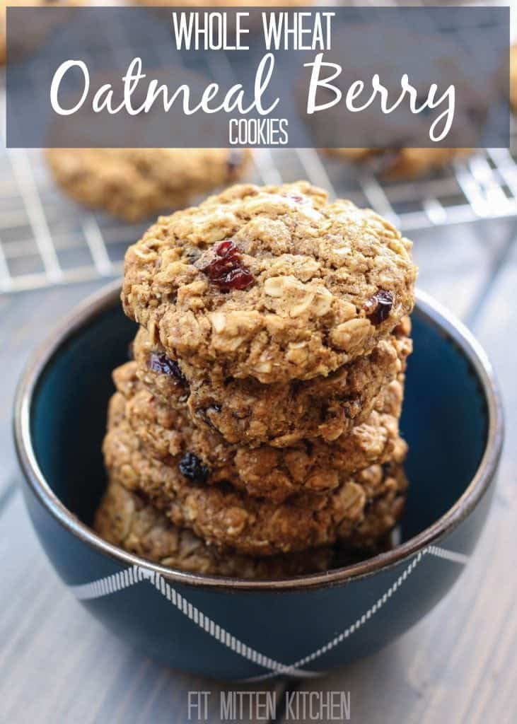 Whole Wheat Oatmeal Berry Cookies stacked in a blue bowl