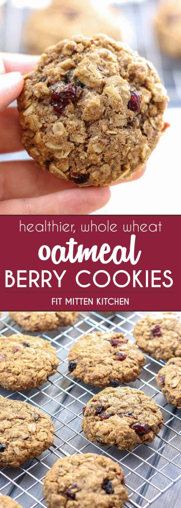 Healthier and whole wheat Oatmeal Berry Cookies close up and on cooling rack
