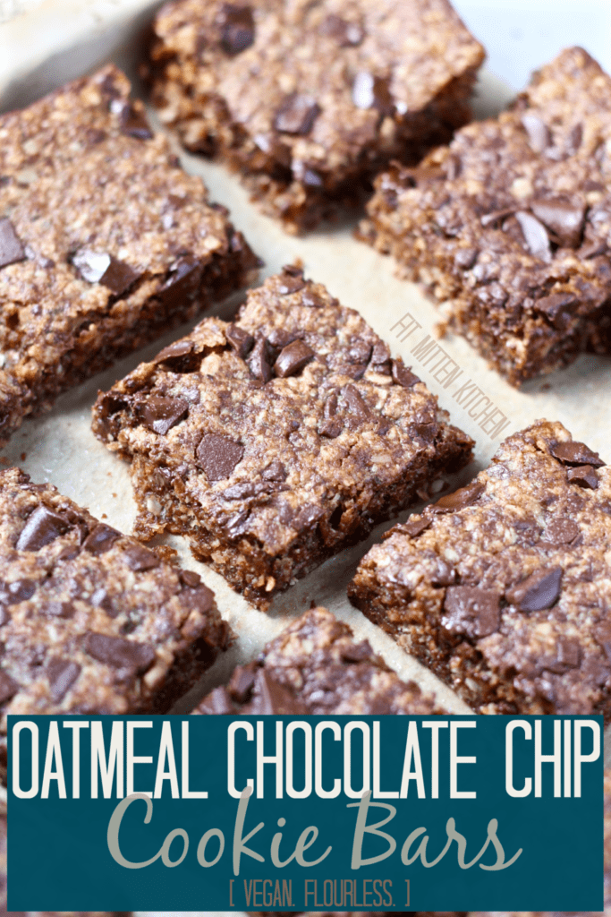 Oatmeal Chocolate Chip Cookie Bars on parchment paper