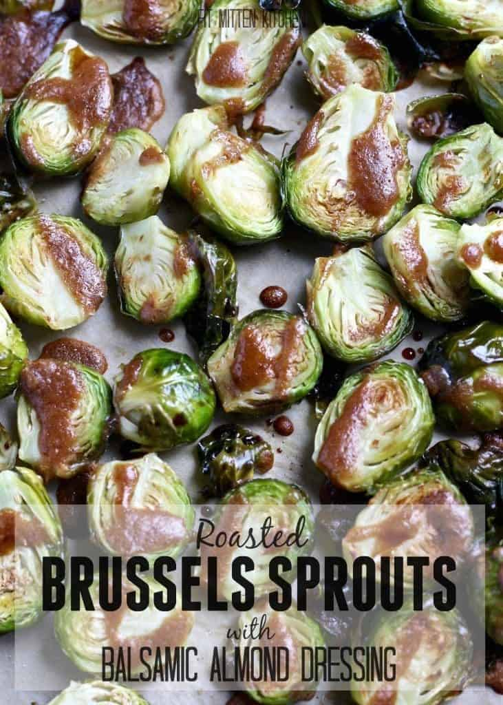 Roasted Brussels Sprouts with Balsamic Almond Dressing on baking sheet