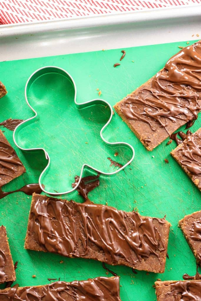 No-Bake Gingerbread Protein Bars with gingerbread cookie cutter
