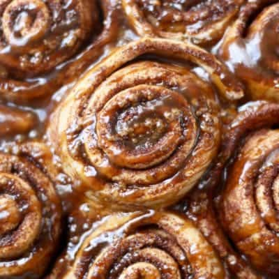 Whole Wheat Cinnamon Rolls with Salted Caramel Glaze