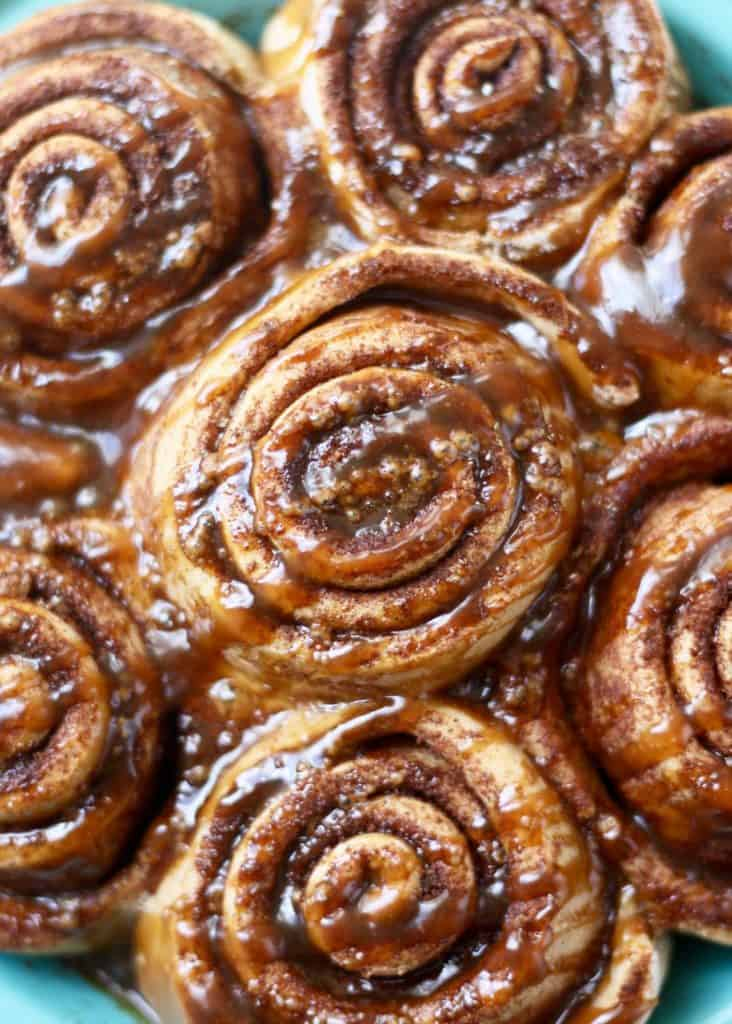 Whole Wheat Cinnamon Rolls close up