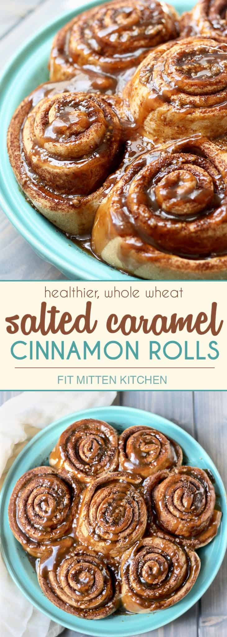 Healthier, whole wheat cinnamon rolls made with coconut sugar and coconut oil instead of butter. Then topped off with a healthier salted caramel glaze!