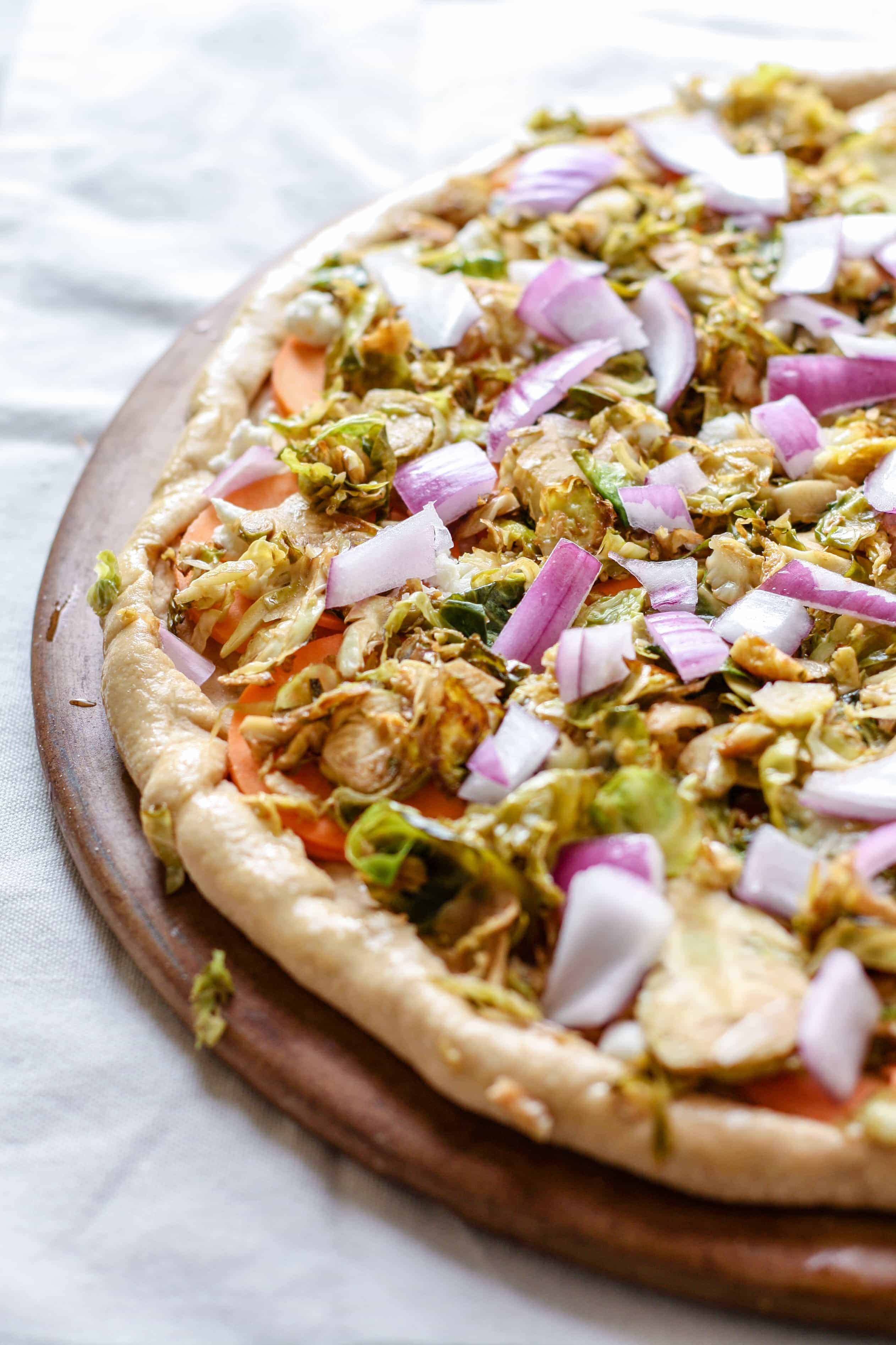Brussels Sprouts and Sweet Potato Goat Cheese Pizza • Fit ...