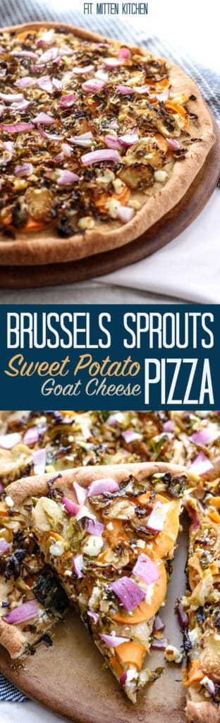 Roasted Brussels Sprouts and Sweet Potato Goat Cheese Pizza