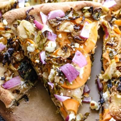 Brussels Sprouts and Sweet Potato Goat Cheese Pizza