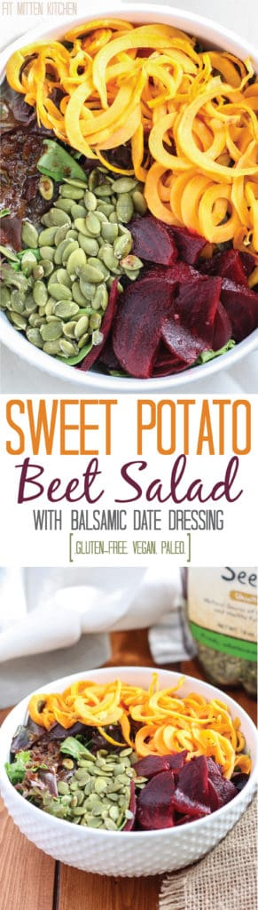 Sweet Potato Beet Salad in white bowl
