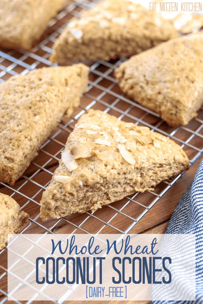 Whole Wheat Coconut Scones on cooling rack