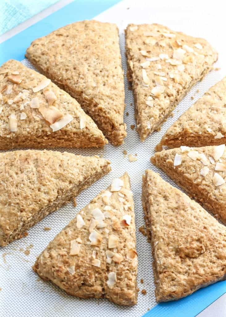 Whole Wheat Coconut Scones cut on silicone baking sheet