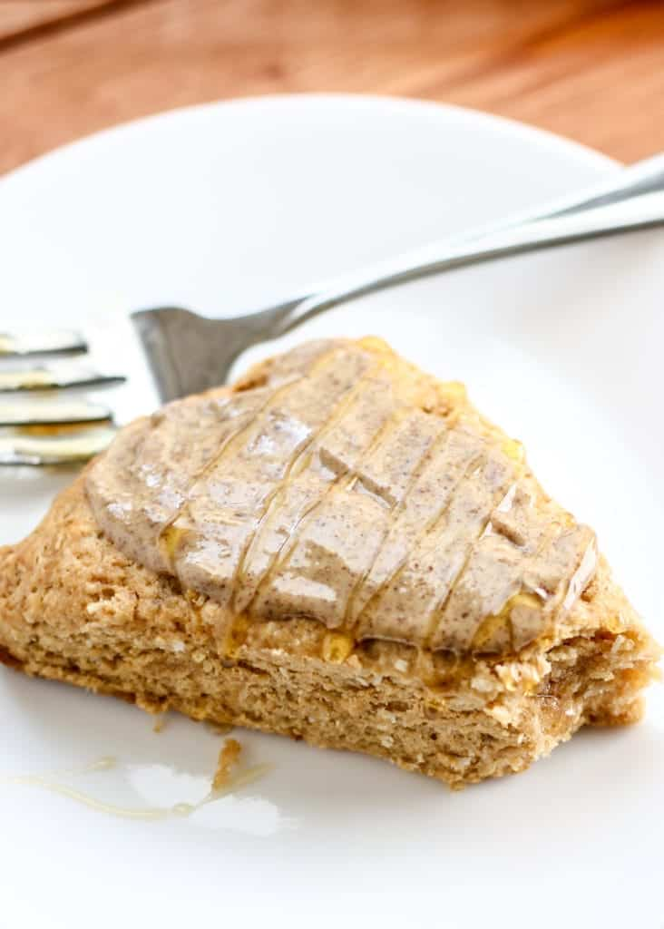 Whole Wheat Coconut Scones with nut butter on the top