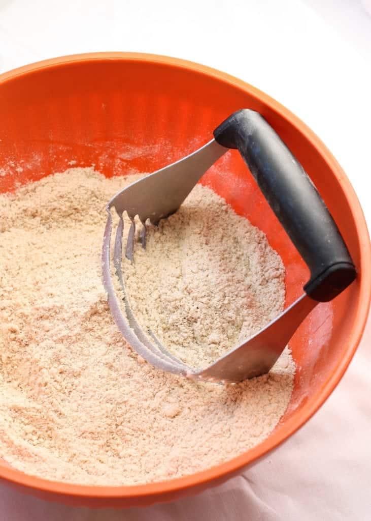 dry ingredients in orange bowl