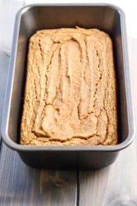 gluten-free coconut flour banana bread in loaf pan