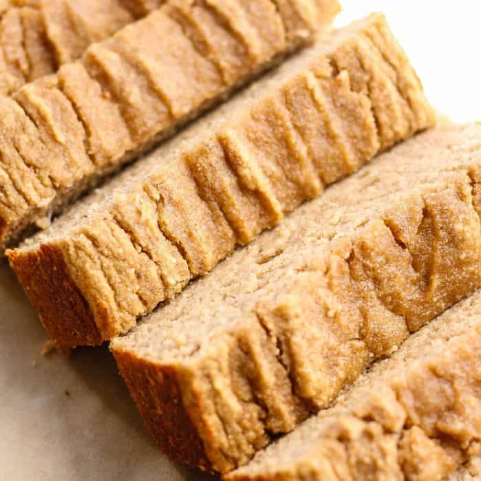 sliced banana bread made with coconut flour