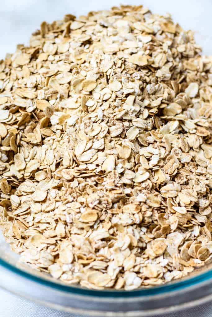 old fashioned oats in bowl for Gingerbread Granola