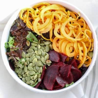 Sweet Potato Beet Salad [with balsamic date dressing]