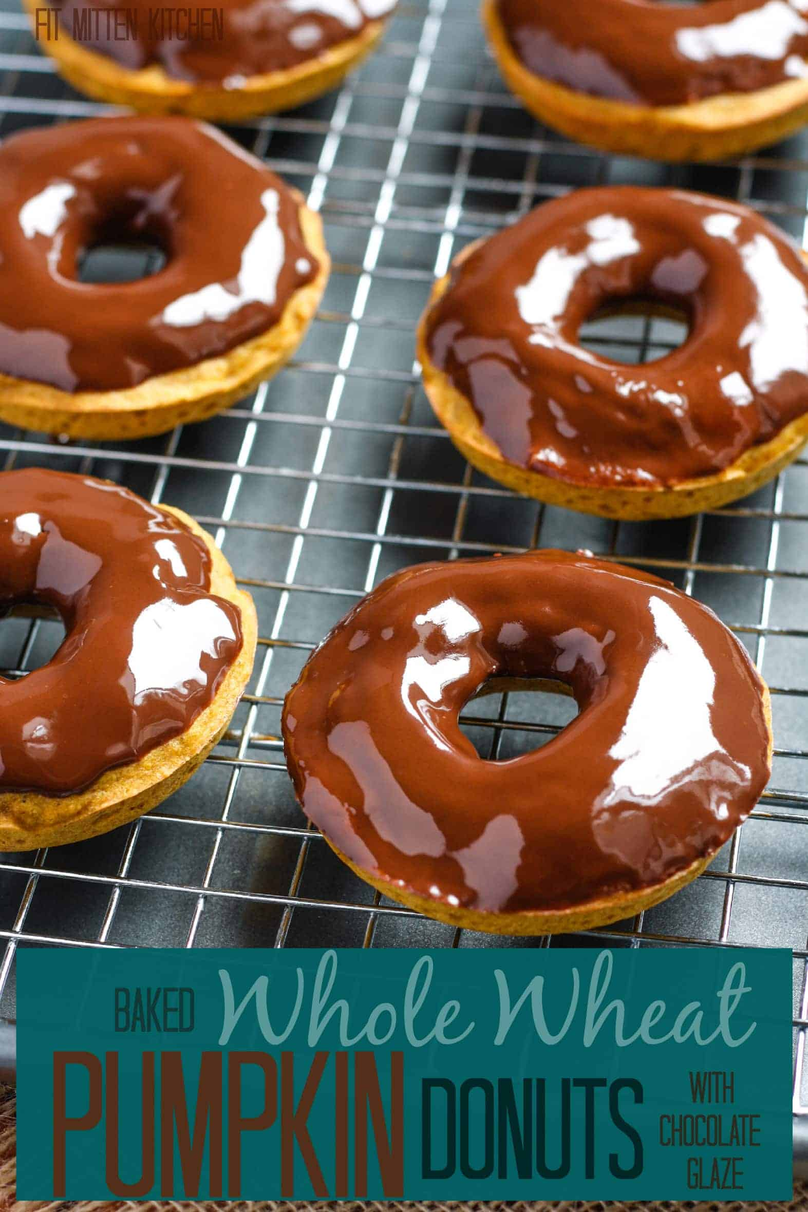 Whole Wheat Pumpkin Donuts [with chocolate glaze] • Fit Mitten Kitchen