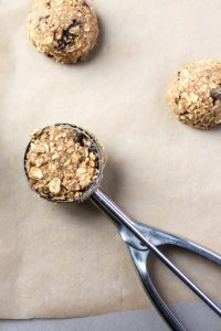 cookie scoop on parchment paper