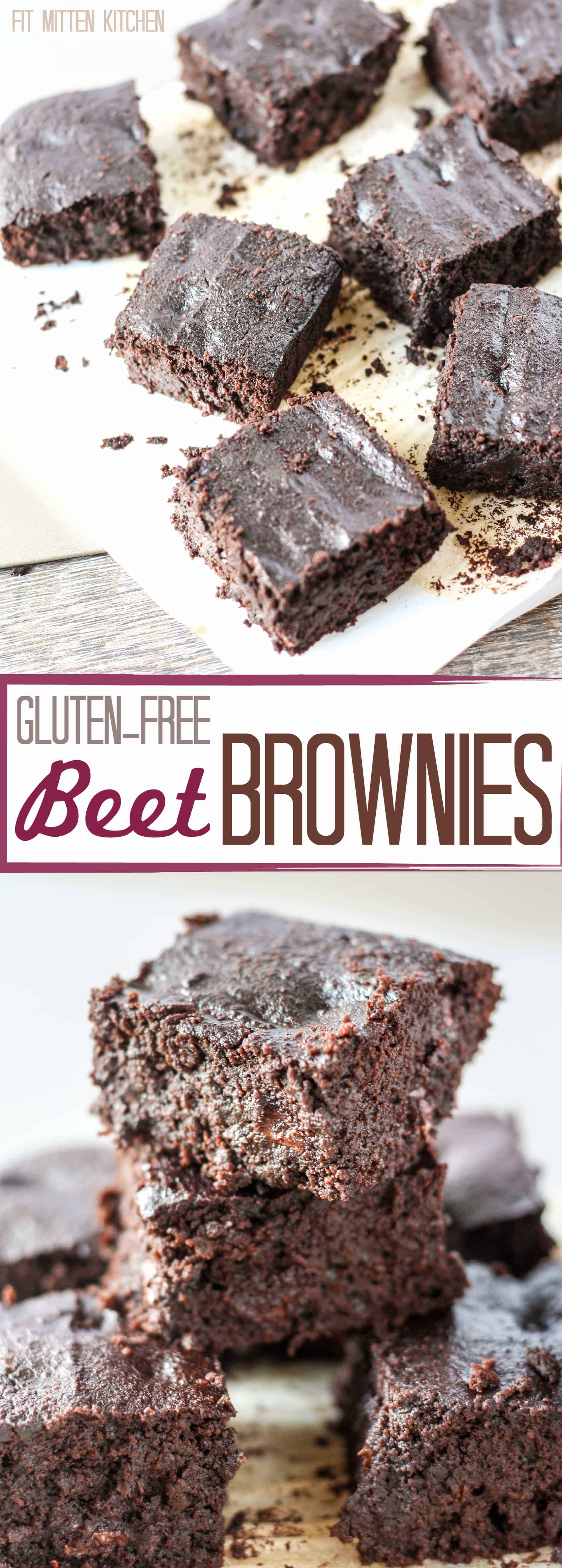 Gluten-Free Beet Brownies on white plate and close up