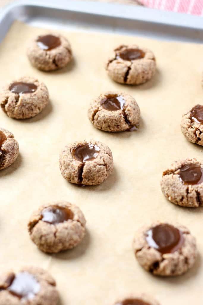 Grain-Free Salted Caramel Thumbprint Cookies