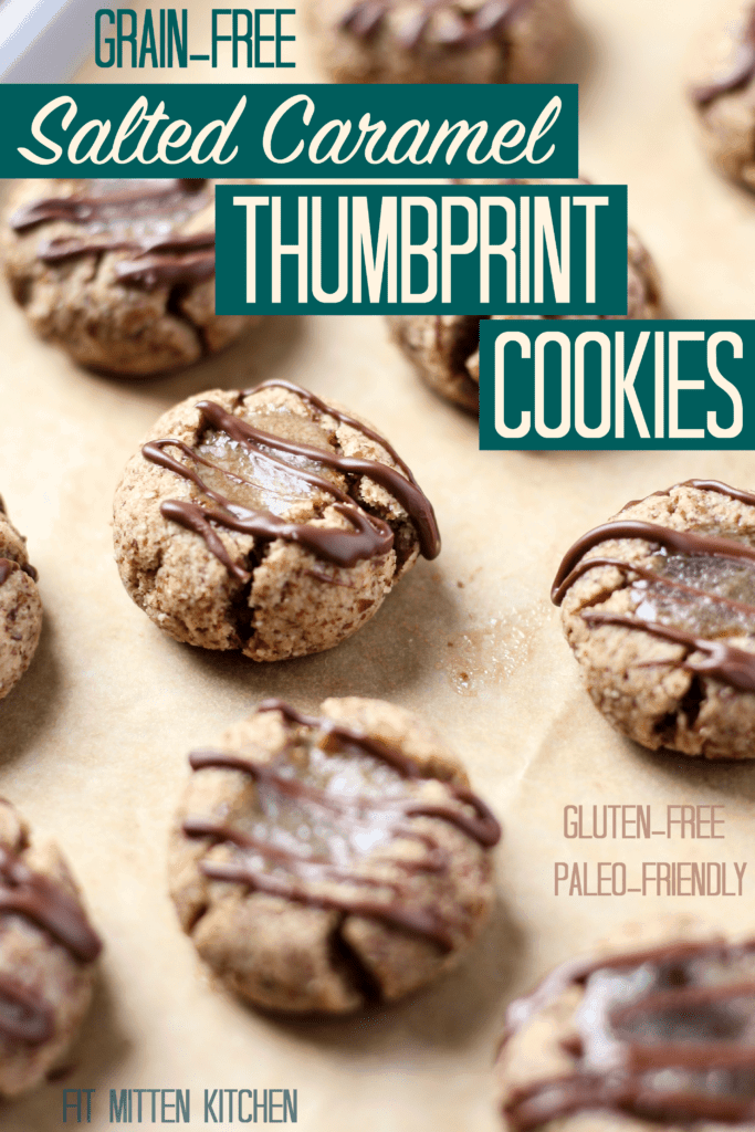 Grain-Free Salted Caramel Thumbprint Cookies [Fit Mitten Kitchen]