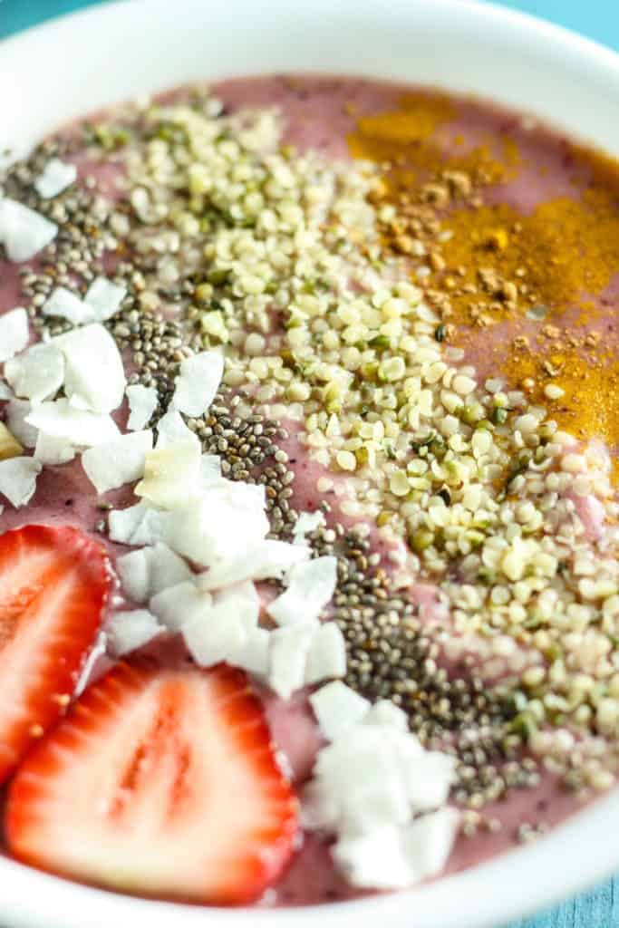 Close up of Cherry Berry Antioxidant Smoothie Bowl