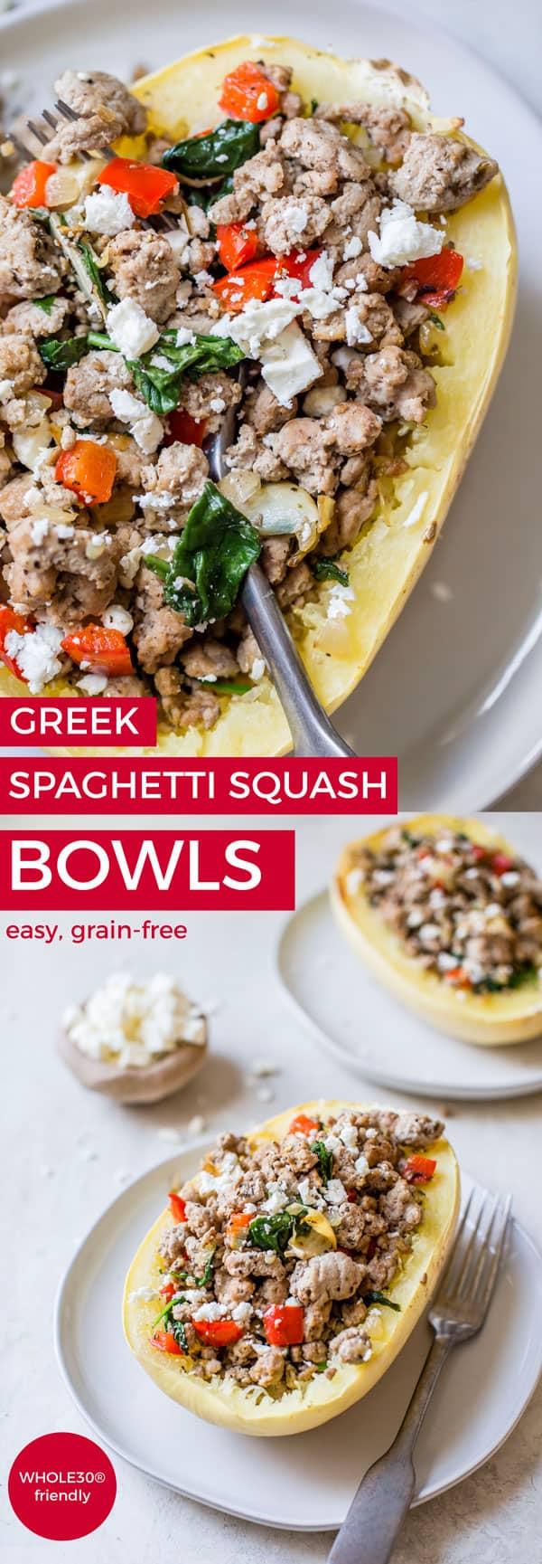 greek spaghetti squash bowls pin