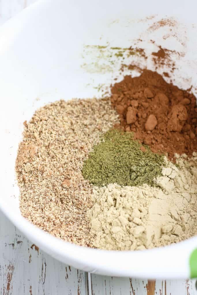 dry ingredients for Mint Chocolate Protein Bars