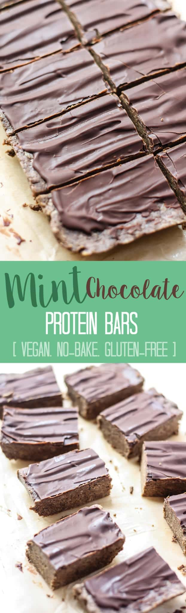Mint Chocolate Protein Bars [Fit Mitten Kitchen] The perfect no-bake snack with 8 grams of protein, 11 grams of healthy fats and 4 grams of fiber to keep you feeling full! No-bake, vegan, cheaper than store-bought, and only 30 minutes in the freezer.
