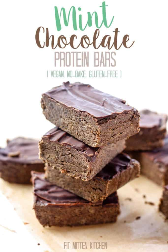 Mint Chocolate Protein Bars [Fit Mitten KitchenMint Chocolate Protein Bars [Fit Mitten Kitchen] The perfect no-bake snack with 8 grams of protein, 11 grams of healthy fats and 4 grams of fiber to keep you feeling full! No-bake, vegan, cheaper than store-bought, and only 30 minutes in the freezer.