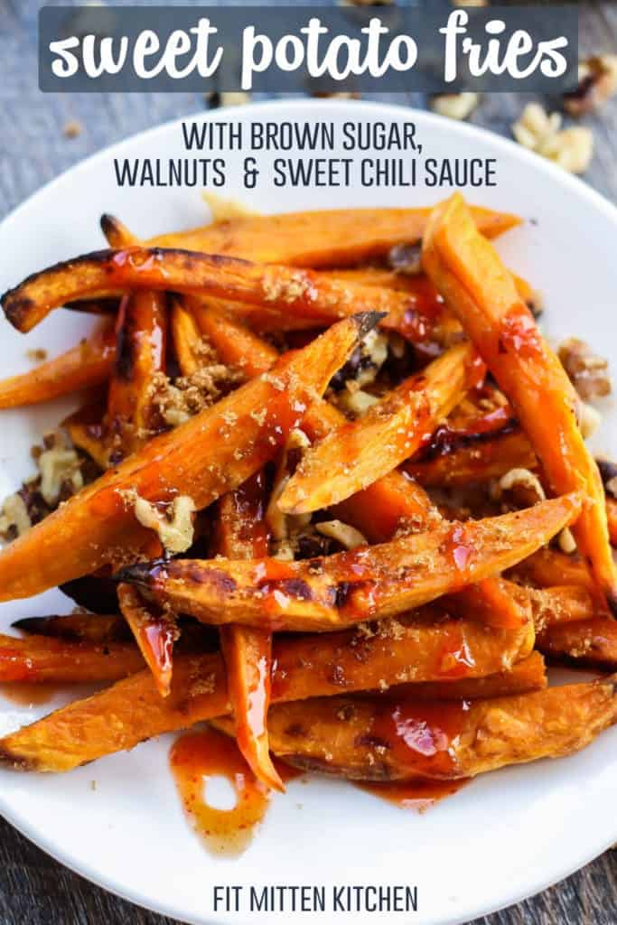 Sweet Potato Fries with Walnuts, Brown Sugar, & Sweet Chili Sauce on white plate