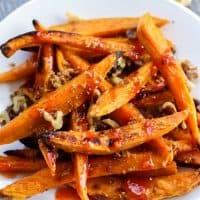 Sweet Potato Fries with Walnuts, Brown Sugar, & Sweet Chili Sauce