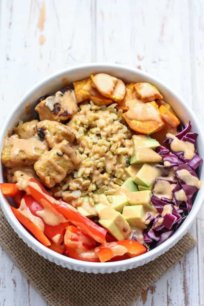 Thai Tempeh Buddha Bowl Vegan High Protein Fit Mitten